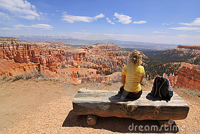 Girl Sitting And Looking At Landscape Royalty Free Stock Photo - Image: 5186645