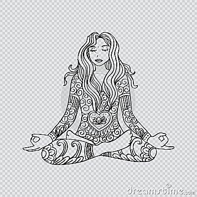 Girl sitting meditation. Vector Illustration