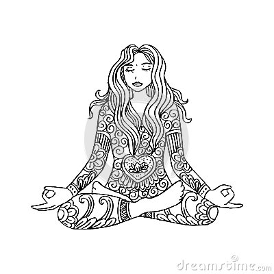 Girl sitting meditation. Cartoon Illustration