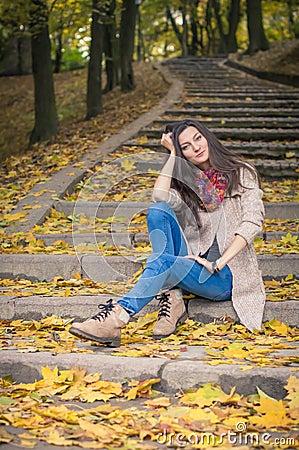 Free Girl Sitting On Stone Steps Stock Image - 86408491