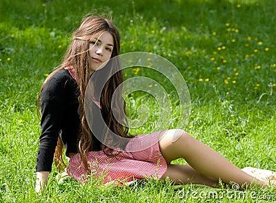 Girl sitting in th park