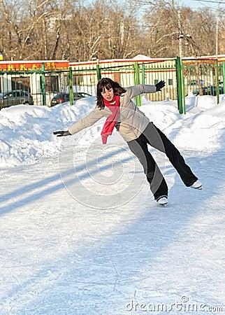 Girl on skate rink