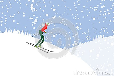 Girl skiing, winter mountain landscape