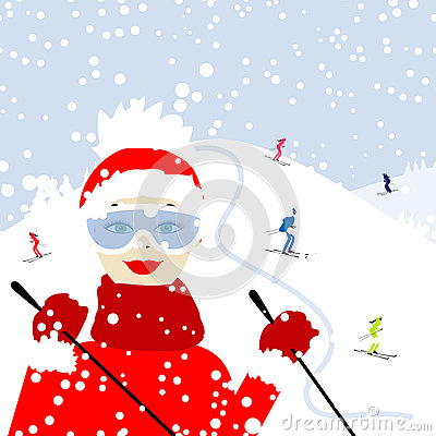Girl skiing, winter mountain landscape