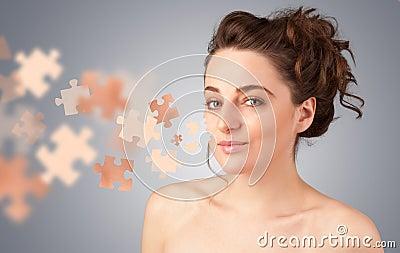 Girl with skin puzzle illustration Cartoon Illustration