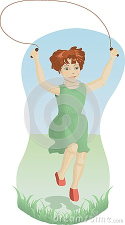 Girl skipping outdoors