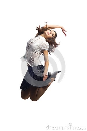 Girl in skirt jumping  isolated white