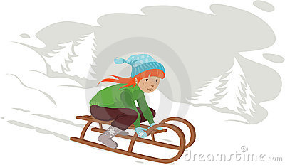 Girl on sledge in snow