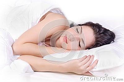 Girl sleep on bed