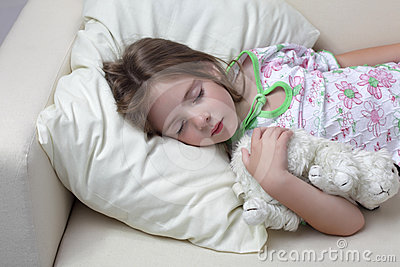 Girl sleep on sofa
