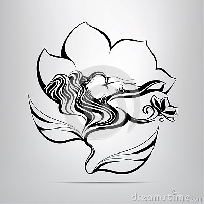 Girl sleeping in a flower. vector illustration