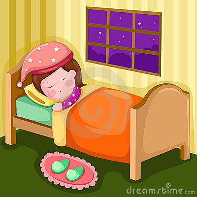 Girl sleeping in her room