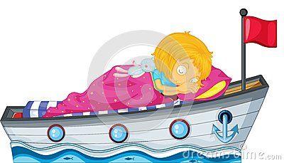 A girl sleeping in a ship with a pink blanket