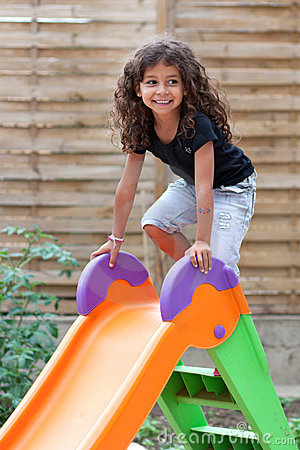 Girl and slide