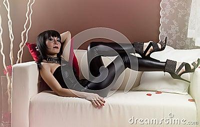 Girl in a slinky black
