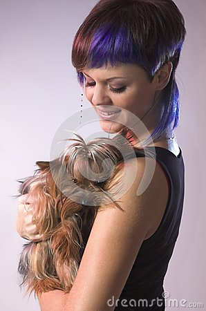 The  girl and small dog