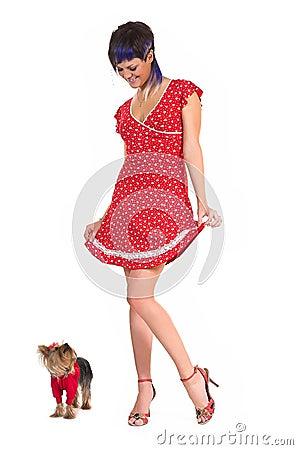The  girl and small dog