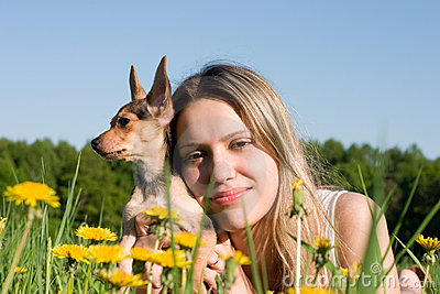 Girl with small doggy