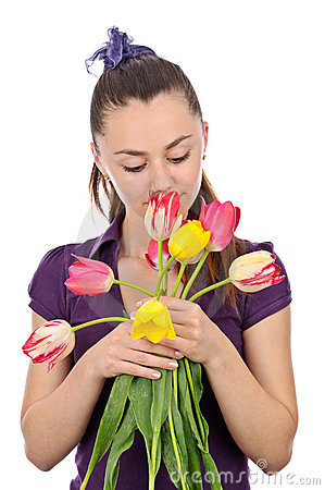 Girl smell flowers