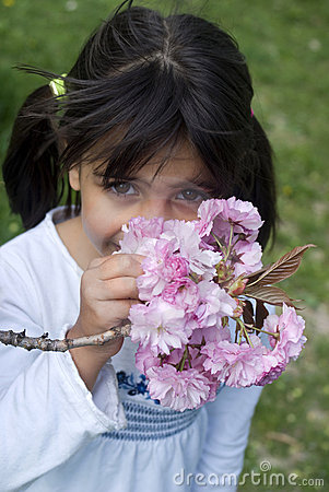 Free Girl Smelling Pink Flowers Royalty Free Stock Photo - 19313495