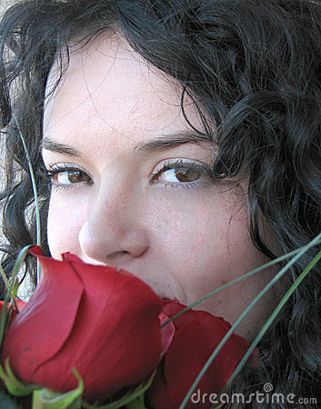 Free Girl Smelling Roses Stock Photography - 10509502