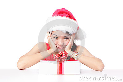 Girl smile and happy look Christmas gift