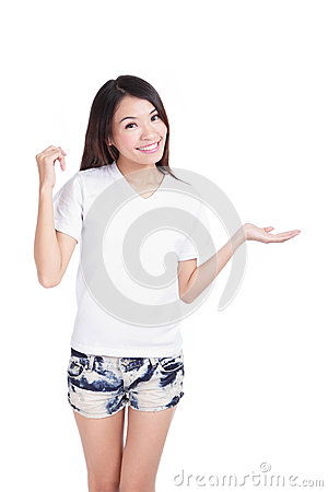 Girl smile show white T-Shirt with hand introduce