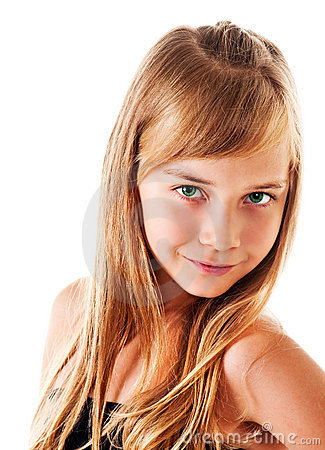 Vertical portrait of the girl on a white background in studio. A faint ...