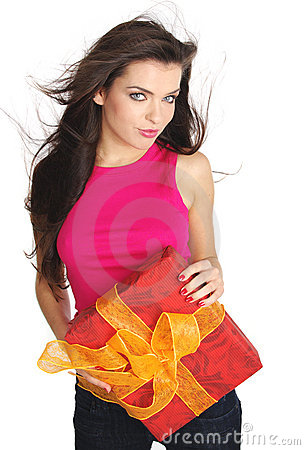 Girl smiles and holding a gift box