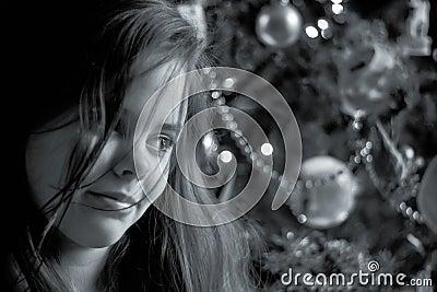 Girl smiling at Christmas