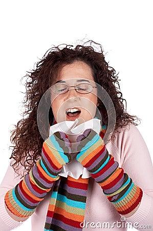 Girl sneeze