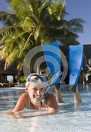 Girl in snorkel gear