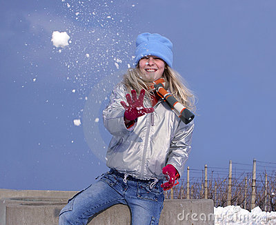 Girl with snowball