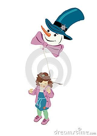 Girl with snowman-air-balloon