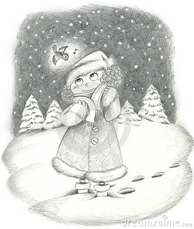Girl in a snowy landscape.
