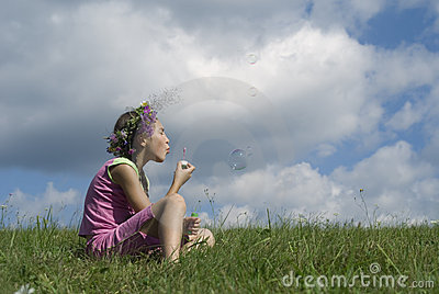Girl with  soap bubbles III