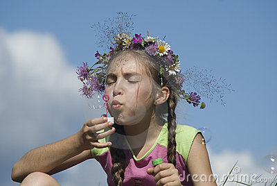 Girl with  soap bubbles V
