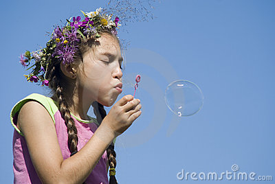 Girl with  soap bubbles VII