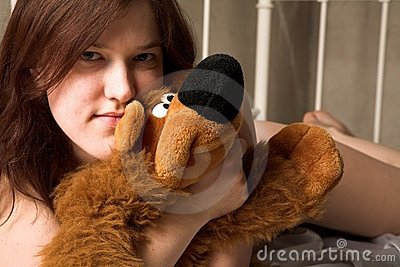 Girl with soft toy