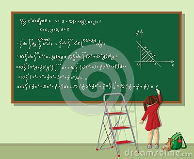 Girl is solving the equation