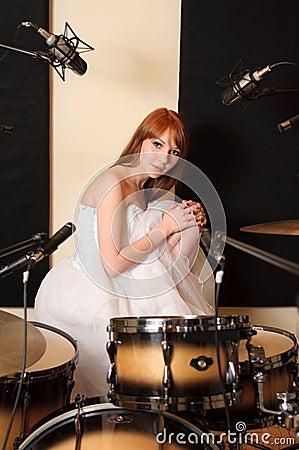 Girl in sound recording studio.