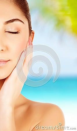 Girl on spa resort