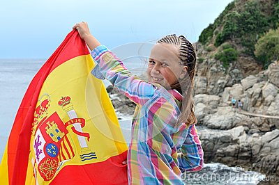 Teenager with Spanish flag