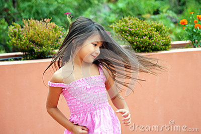 Girl spinning & dancing
