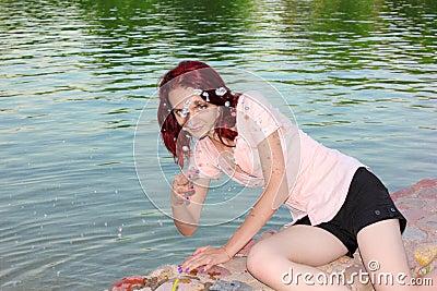 Girl and splashes