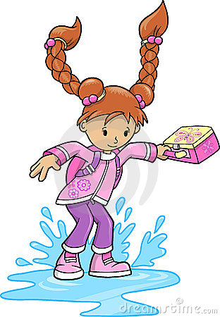 Free Girl Splashing In Puddle Vector Royalty Free Stock Photos - 9839338