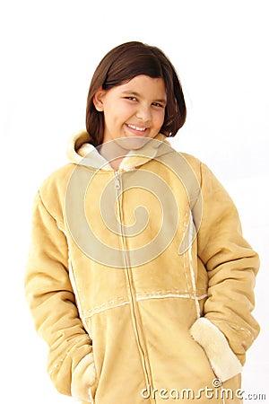 Girl sporting winter coat