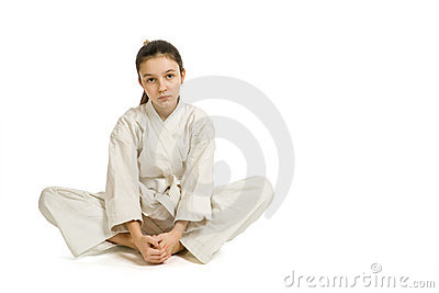 The girl in a sports kimono rest