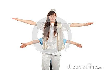 Girl spread hands