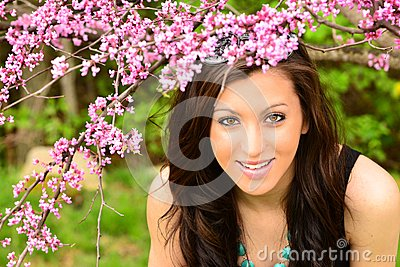 Girl in Spring flowers